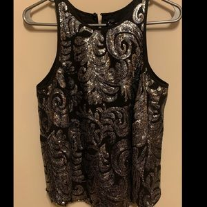 Sequin Black and Silver Sleeveless Top